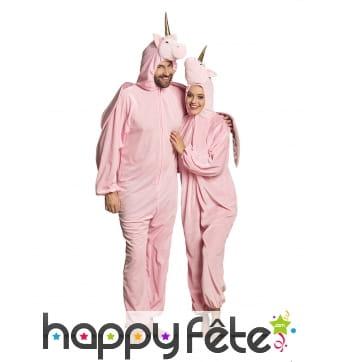 Combinaison de licorne rose à capuche pour femme