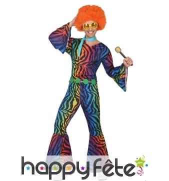 Combinaison disco léopard multicolore pour homme