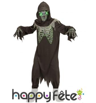 Costume de la mort avec masque lumineux, enfant
