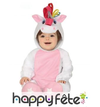 Costume de licorne avec capuche et chaussons,bébé