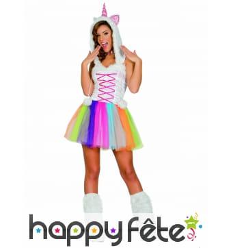 Costume de licorne en tutu coloré pour femme