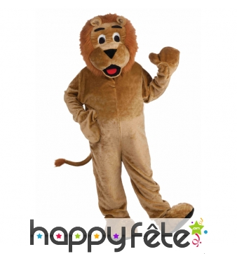 Costume de lion mascotte version luxe