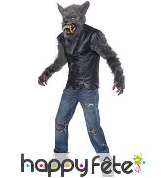 Costume de loup garou avec masque intégral, enfant