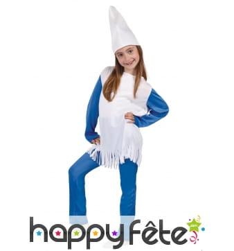Costume de lutin bleu et blanc pour fille