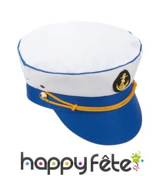Casquette de marin blanche et bleue