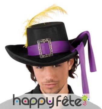 Chapeau de mousquetaire adulte noir bandeau violet