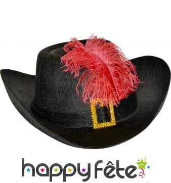 Chapeau de mousquetaire adulte noir
