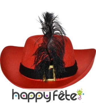 Chapeau de mousquetaire adulte rouge