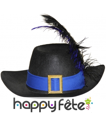 Chapeau de mousquetaire noir et bleu pour enfant