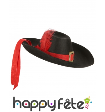 Chapeau de mousquetaire noir et rouge pour adulte