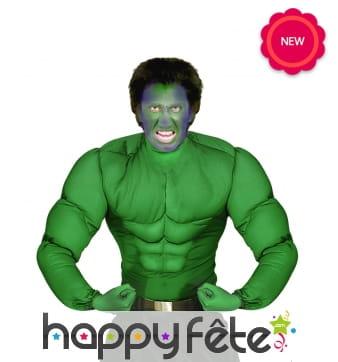 Chemise de muscles verts type hulk pour adulte
