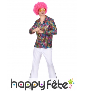 Chemise disco multicolore métallisé pour homme