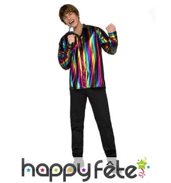 Chemise disco multicolore pour homme