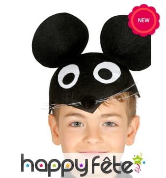 Coiffe de Mickey en feutrine noire pour enfant