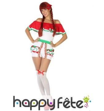 Costume de mexicaine en shorty pour femme