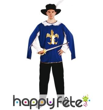 Costume de mousquetaire bleu pour adulte