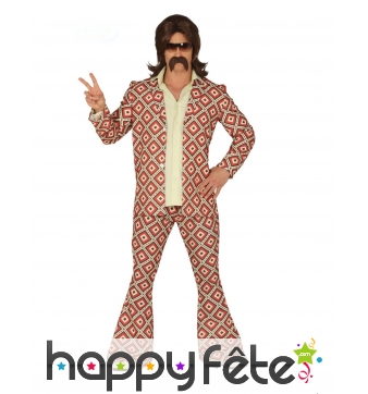 Costume disco motifs losange pour homme