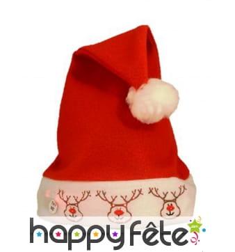 Chapeau de Noël avec rennes lumineux