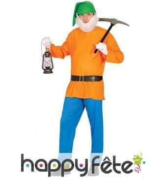 Costume de nain orange vert et bleu pour adulte