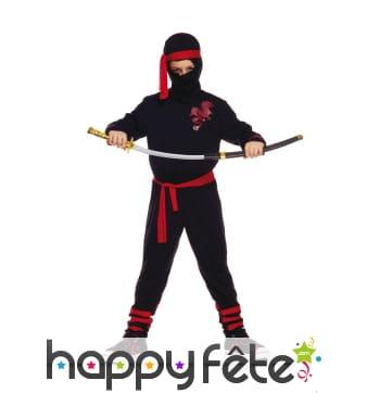 Costume de ninja noir et rouge pour enfant