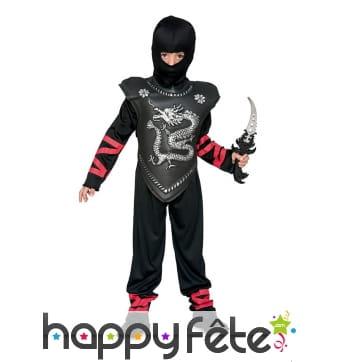 Costume de ninja noir plastron dragon, enfant