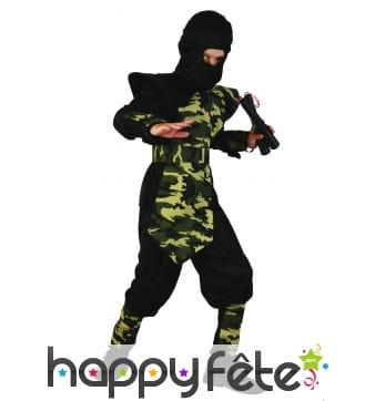 Costume de ninja pour enfant motifs camouflage
