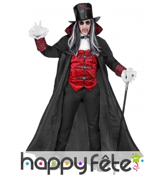 Costume de noble vampire rouge et noir, adulte