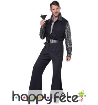 Costume disco noir argenté pour homme