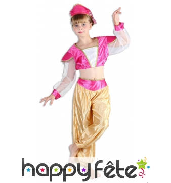 Costume danseuse orientale rose et or pour fille
