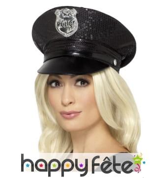 Casquette de police à sequins noirs
