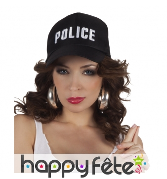 Casquette de police noire