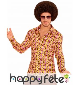Chemise disco psychedelique orange homme