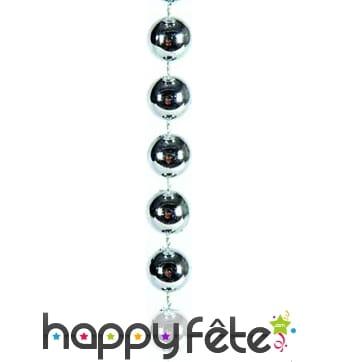 Collier de perles argentées de 2.7 m