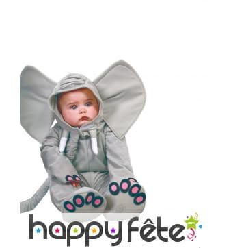 Combinaison de petit éléphant gris pour bébé
