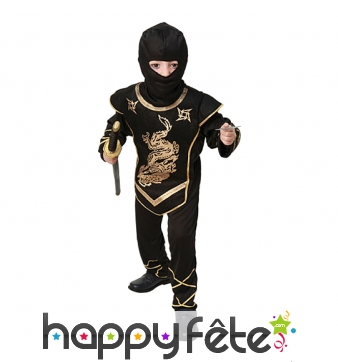 Combinaison de petit ninja noir imprimés dorés