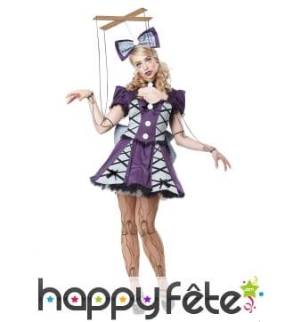 Costume de pantin gris et violet pour femme