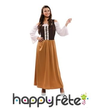 Costume de paysanne médiévale pour femme