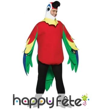 Costume de perroquet rouge et coloré pour adulte