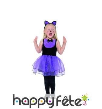Costume de petit chat en tutu noir violet, enfant