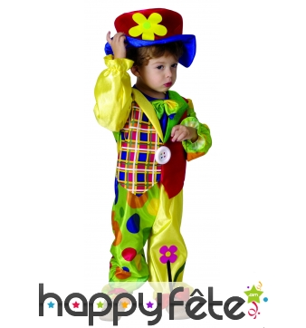 Costume de petit clown multicolore avec chapeau