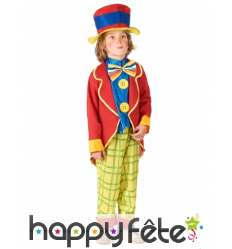 Costume de petit clown rouge et jaune