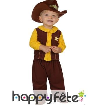 Costume de petit cowboy shérif marron