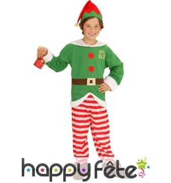 Costume de petit elfe de Noël rayé
