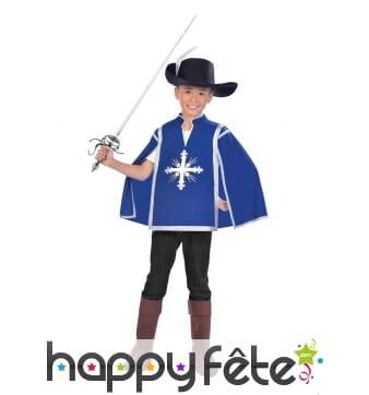 Costume de petit mousquetaire bleu pour enfant