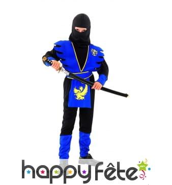 Costume de petit ninja bleu et noir