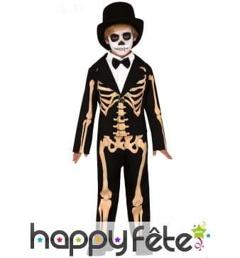 Costume de petit squelette en smoking