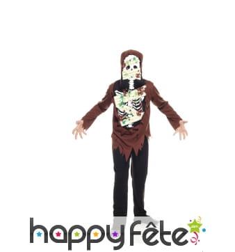 Costume de petit squelette zombie