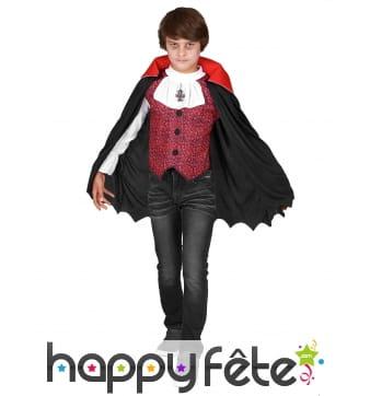 Costume de petit vampire avec cape mi-longue