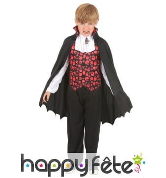 Costume de petit vampire imprimé têtes de mort