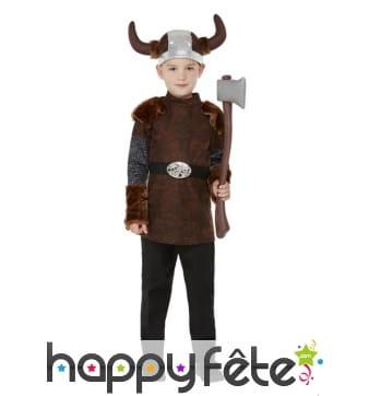 Costume de petit viking marron avec casque